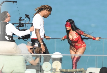 EXCLUSIVE: February 27, 2017: Nicki Minaj shows off her famous curves in a red cutout bodysuit as she films a video with rapper Future in Miami Beach, Florida. -PICTURED: Nicki Minaj, Future -PHOTO by: INSTARimages.com -Instar_Nicki_Minaj_Future_EXC_0730642255 Editorial Rights Managed Image - Please contact www.INSTARimages.com for licensing fee and rights: North America Inquiries: email sales@instarimages.com or call 212.414.0207 - UK Inquiries: email ben@instarimages.com or call + 7715 698 715 - Australia Inquiries: email sarah@instarimages.com.au Êor call +02 9660 0500 Ð for any other Country, please email sales@instarimages.com. ÊImage or video may not be published in any way that is or might be deemed defamatory, libelous, pornographic, or obscene / Please consult our sales department for any clarification or question you may have - http://www.INSTARimages.com reserves the right to pursue unauthorized users of this image or video. If you are in violation of our intellectual property you may be liable for actual damages, loss of income, and profits you derive from the use of this image or video, and where appropriate, the cost of collection and/or statutory damage.