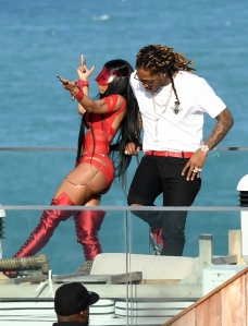 EXCLUSIVE: February 27, 2017: Nicki Minaj shows off her famous curves in a red cutout bodysuit as she films a video with rapper Future in Miami Beach, Florida. -PICTURED: Nicki Minaj, Future -PHOTO by: INSTARimages.com -Instar_Nicki_Minaj_Future_EXC_0730642265 Editorial Rights Managed Image - Please contact www.INSTARimages.com for licensing fee and rights: North America Inquiries: email sales@instarimages.com or call 212.414.0207 - UK Inquiries: email ben@instarimages.com or call + 7715 698 715 - Australia Inquiries: email sarah@instarimages.com.au Êor call +02 9660 0500 Ð for any other Country, please email sales@instarimages.com. ÊImage or video may not be published in any way that is or might be deemed defamatory, libelous, pornographic, or obscene / Please consult our sales department for any clarification or question you may have - http://www.INSTARimages.com reserves the right to pursue unauthorized users of this image or video. If you are in violation of our intellectual property you may be liable for actual damages, loss of income, and profits you derive from the use of this image or video, and where appropriate, the cost of collection and/or statutory damage.