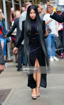 "NEW YORK, NY - AUGUST 13: Nicki Minaj seen at ""The Late Show with Stephen Colbert"" on August 13, 2018 in New York City. (Photo by Gotham/GC Images)"