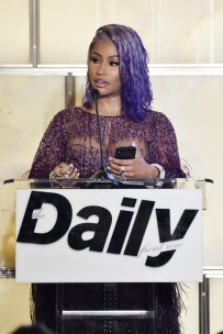 NEW YORK, NY - SEPTEMBER 06: Nicki Minaj speaks at Daily Front Row's Fashion Media Awards on September 6, 2018 in New York City. (Photo by Steven Ferdman/Getty Images for The Daily Front Row)